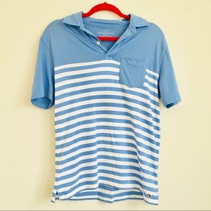 Vineyard Vines   Blue Striped Collared Polo Top